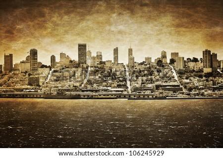 San Francisco vintage view from Alcatraz