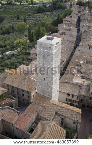 San Gimignano Village, Tuscany; Italy #463057399