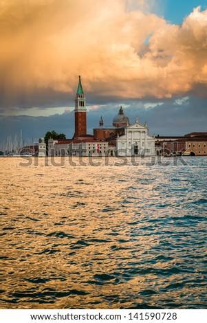 San Giorgio Maggiore Church in sunset, Venice