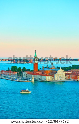 San Giorgio Maggiore Island in Venice at sundown, Italy. Copy-space composition