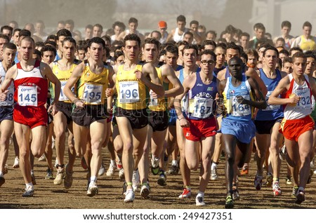 SAN GIORGIO SU LEGNANO-ITALY-FEBRUARY 15, 2005: male runners start at the cross country run race Campaccio, in San Giorgio su Legnano.