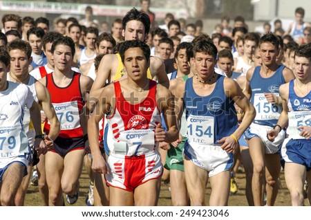 SAN GIORGIO SU LEGNANO-ITALY-FEBRUARY 15, 2005: youth male runners start at the cross country run race Campaccio, in San Giorgio su Legnano.