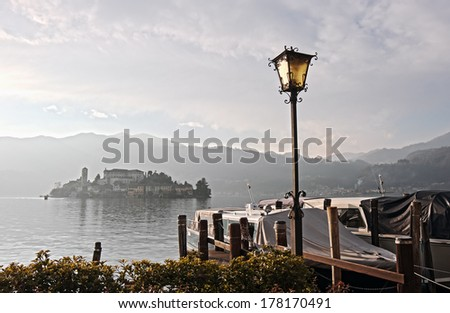 San Giulio isle on Orta Lake, Piedmont, Italy