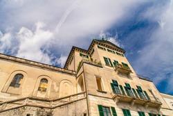 San Giulio monastery facade in San Giulio island inside Orta's Lake, Piemonte, Italy