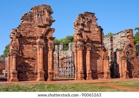 San Ignacio Miní, Jesuit Mission of the Guarani, UNESCO World Heritage Site. Main temple entrance. Morning view