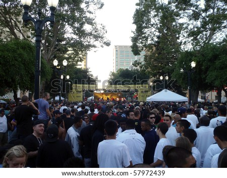 SAN JOSE, CA - JULY 14: Don Carlos plays in front of a large crowd at San Jose Music in the Park in the Downtown area earlier evening.  Taken July 14, 2010 Downtown San Jose, California.