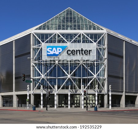 SAN JOSE, CA - MARCH 18: The SAP Center located in downtown San Jose on March 18, 2014. The SAP Center is a multi-purpose sports and concert venue and the home of the San Jose Sharks of the NHL.