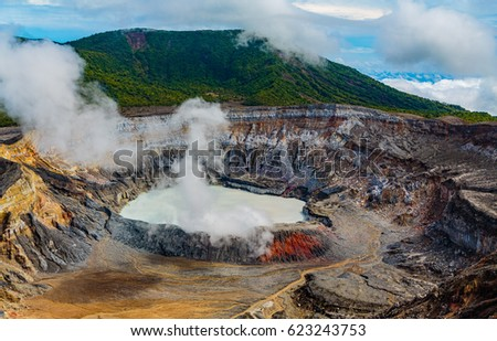 San Jose, Costa Rica - April 3, 2017:  The Poas Volcano  in central Costa Rica. erupted on April 14, 2017, creating a 3km. high ash and vapor column  Evacuations and area closures prevailing. #623243753