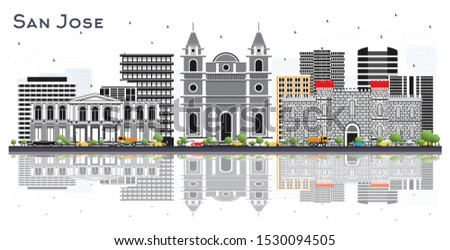 San Jose Costa Rica City Skyline with Color Buildings and Reflections Isolated on White. Business Travel and Tourism Concept with Modern Architecture. San Jose Cityscape with Landmarks.