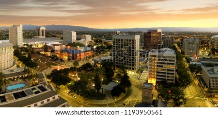San Jose is considered the capitol of Silicon Valley, a famous high tech center of the world. This panoramic shot shows how San Jose downtown right after the sunset.