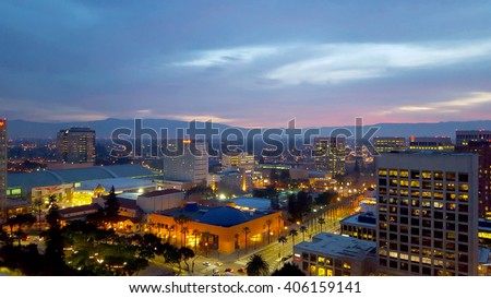 San Jose, Silicon Valley, view of downtown, the Tech Museum, McEnery Convention Center, Silicon Valley, and the Santa Cruz Mountains at sunset. #406159141