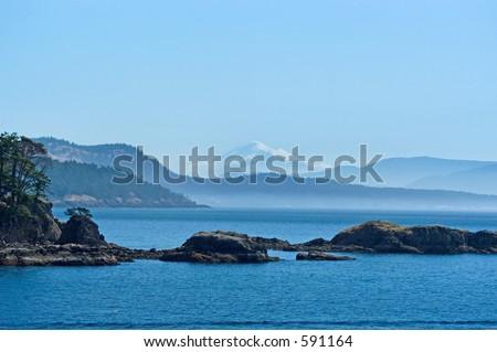 San Juan islands with Mount Baker on background