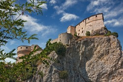 San Leo, Rimini, Emilia-Romagna. Italy: view of the medieval fortress, the ancient castle where the occultist Count Cagliostro died