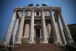 San Lorenzo in Miranda Temple in Ancient Roman Forum, Roman Empire, famous tourist landmark, guided tour concept, Rome, Italy