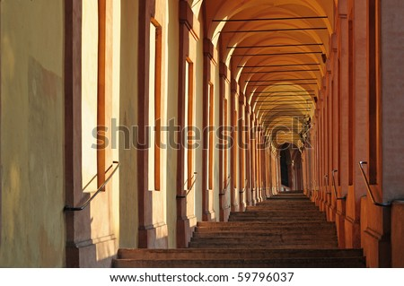 San Luca arcade. Bologna, Italy - stock photo