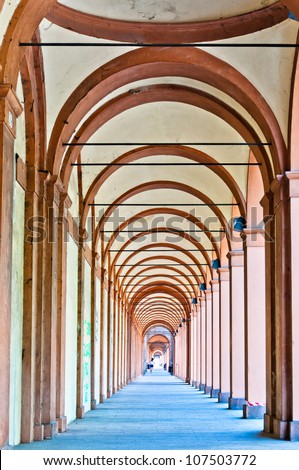 San Luca arcade (the longest porch in the world). Bologna, Italy - stock photo
