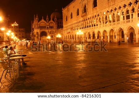 san marco square by night, venice , italy, europe