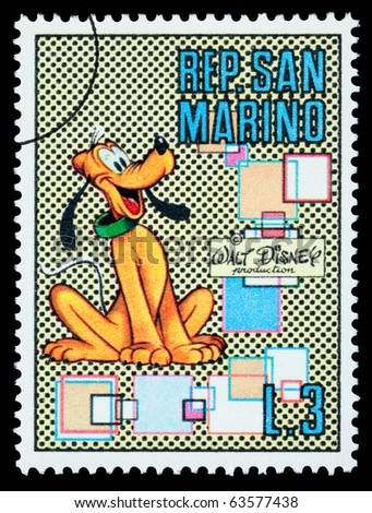 San Marino - CIRCA 1970: A postage stamp printed in San Marino showing the Disney character Pluto, circa 1968