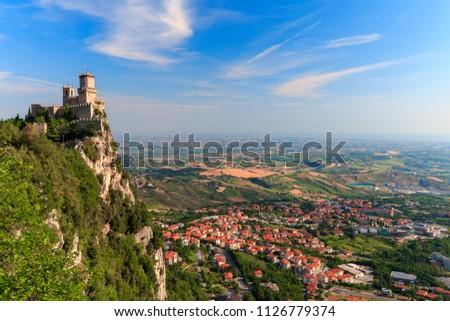 San Marino city view. Fortress on the rock. San Marino  landmark. Italy. Foto stock ©