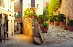San Marino cityscape. Italy landmark. Cozy historic San Marino empty streets.