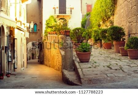 San Marino cityscape. Italy landmark. Cozy historic San Marino empty streets. Foto stock ©