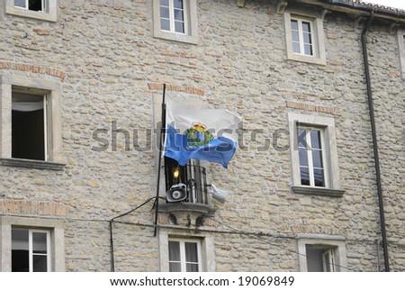 San Marino flag on building