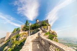 San Marino fortress on clear blue sky background. Historic center of Italy San Marino.