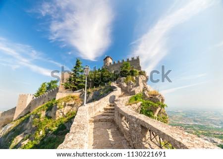 San Marino fortress on clear blue sky background. Historic center of Italy San Marino. Foto stock ©