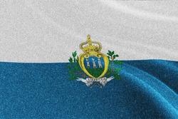 San Marino glitter flag, national flag, glittering flag sparkle background