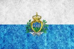 San Marino Metallic flag, Textured flag, grunge flag