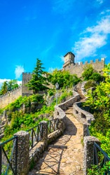 San Marino Republic, medieval Guaita first tower on a rocky cliff and pathway