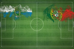 San Marino vs Portugal Soccer Match, national colors, national flags, soccer field, football game, Competition concept, Copy space