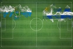 San Marino vs Uruguay Soccer Match, national colors, national flags, soccer field, football game, Competition concept, Copy space