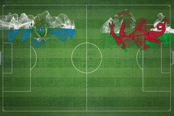 San Marino vs Wales Soccer Match, national colors, national flags, soccer field, football game, Competition concept, Copy space