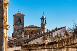San Martin Church at the Plaza Mayor, Main Square of Trujillo. A small medieval town, birthplace of the Conquistador Francisco Pizarro in western Spain.