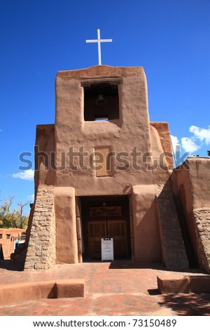 San Miguel Chapel Mission - an adobe church building in Santa Fe, New Mexico.