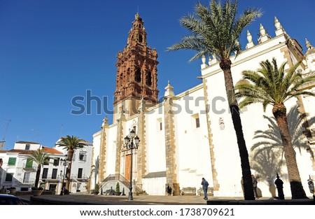 San Miguel church in Plaza of Spain, Jerez de los Caballeros, Badajoz province in Extremadura, Spain