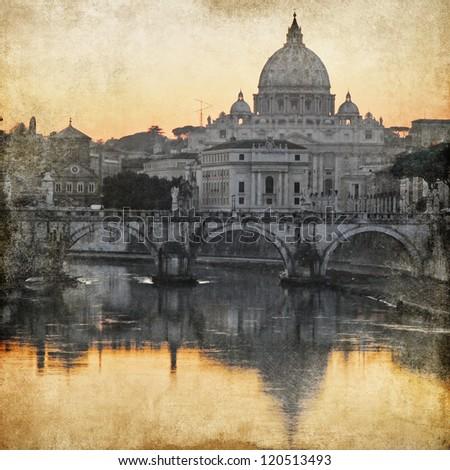 San Pietro basilica Rome retro styled picture