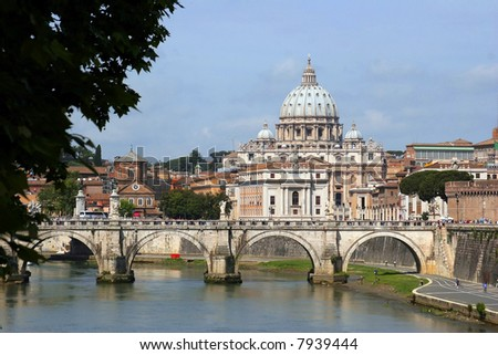 San Pietro dome, the Vatican City as seen from across the Tiber River in Rome Italy