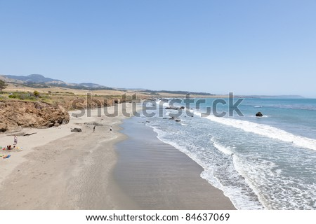 San Simeon State Park is one of the oldest units of the California State Park System. The coastal bluffs and promontories of the scenic park offer unobstructed views of the ocean and rocky shore.