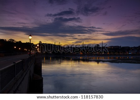 San VIcente de la Barquera bridge at sunset (Cantabria,Spain)