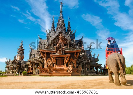 Sanctuary of Truth, Pattaya.Sanctuary of Truth, is a temple construction in Pattaya, Thailand. It is an all-wood building filled with sculptures based on traditional Buddhist and Hindu motifs.