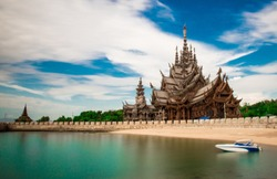 Sanctuary of Truth views in Pattaya Thailand