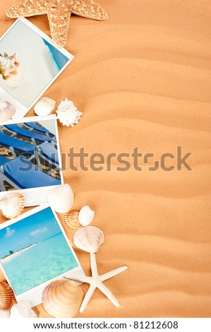 sand background with pictures, starfish and conch