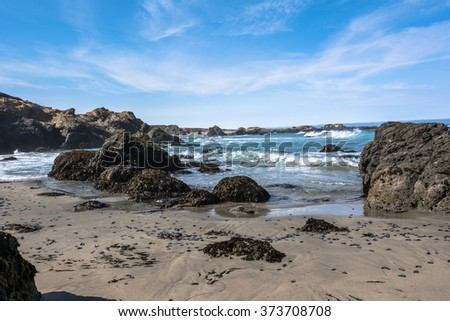Sand beach along Fort Bragg coast, California
