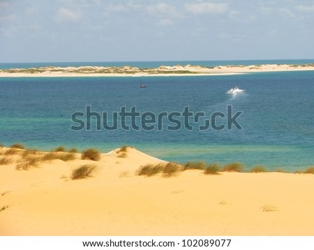 Sand beach and blue lagoon on Bazaruto Island, Mozambique