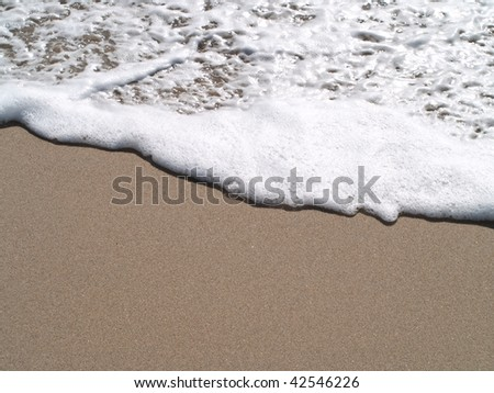 sand beach and foamy water.