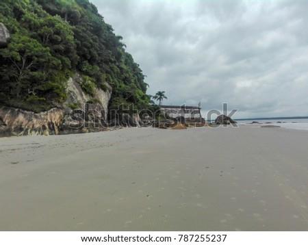 Sand beach and fortress, Ilha do Mel, Brazil
