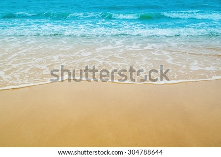 sand beach and sea wave for natural background #304788644