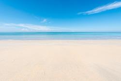 Sand beach blue sky with cloud